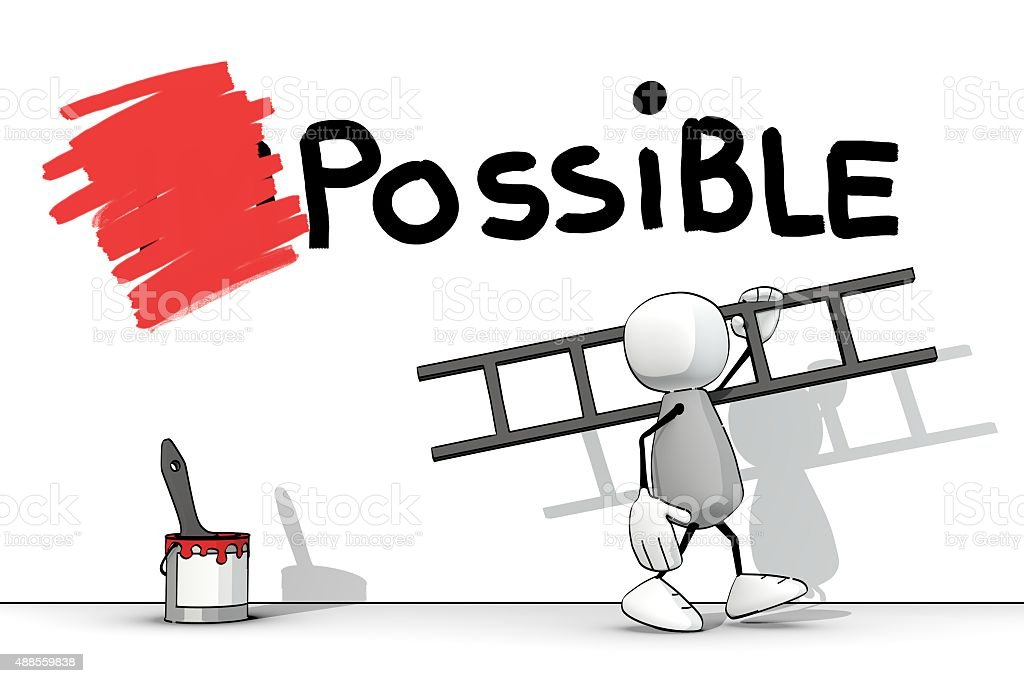 little sketchy man changed impossible to possible with red paint vector art illustration