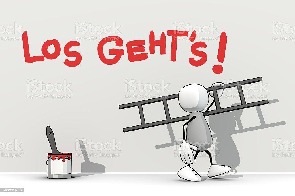 little sketchy man with ladder - los geht's vector art illustration