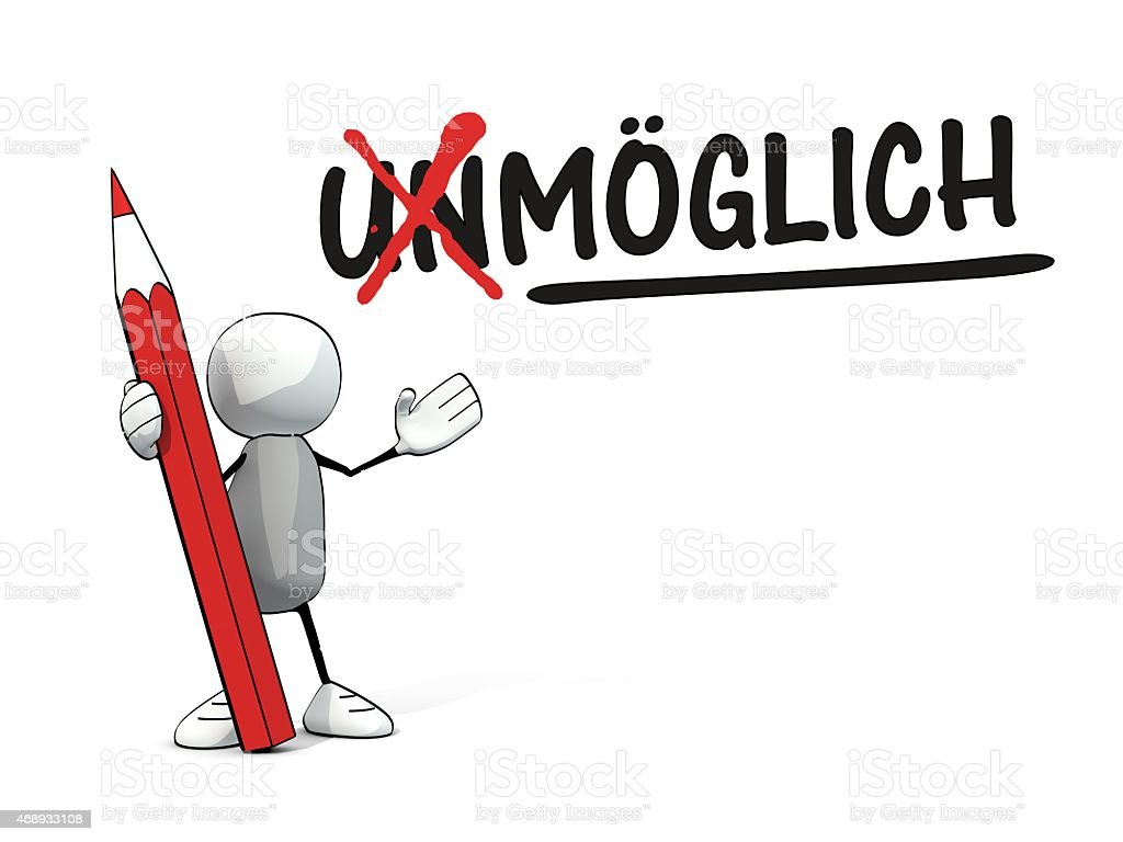 little sketchy man with red pencil turning unm?glich in m?glich vector art illustration