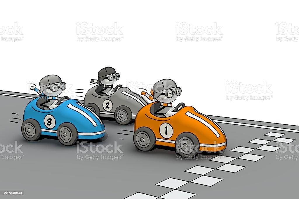 little sketchy men - car race vector art illustration