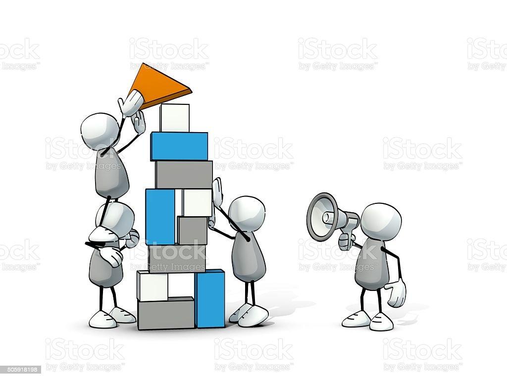 little sketchy men - team building with blocks vector art illustration