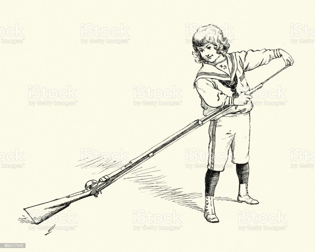 Little victorian boy cleaning his fathers gun vector art illustration