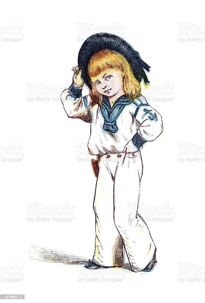 Little Victorian boy in a sailor suit vector art illustration