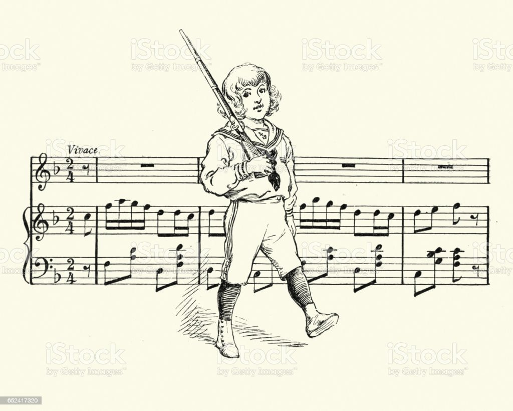 Little victorian boy playing at soldiers vector art illustration