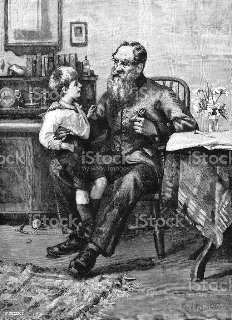 Little Victorian boy talking to an old soldier vector art illustration