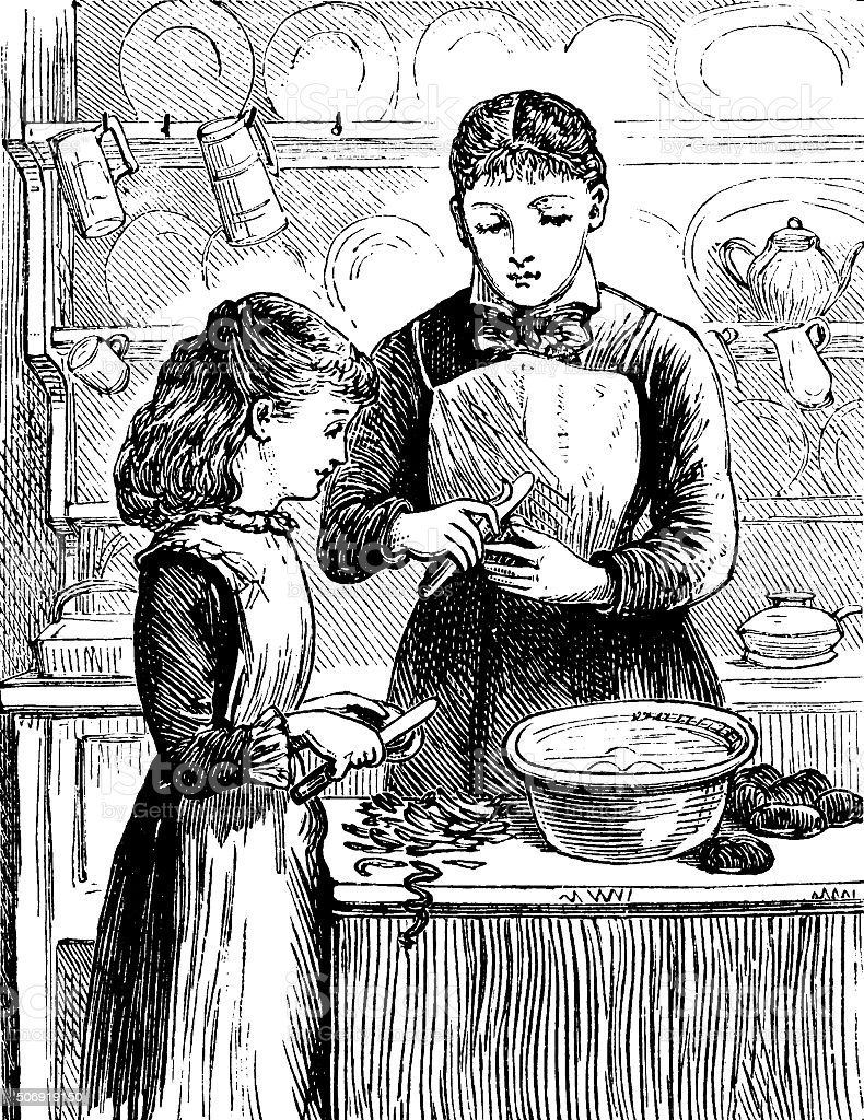 Little Victorian girl helping her mother in the kitchen vector art illustration