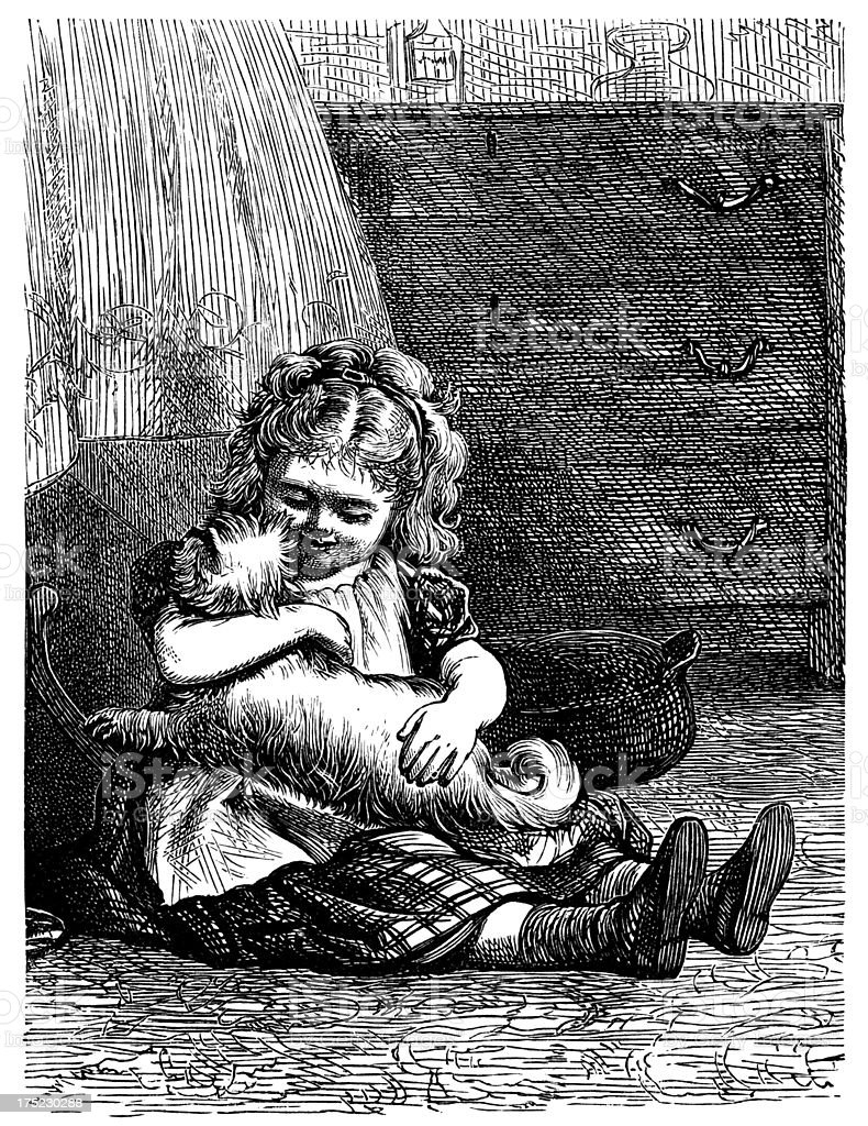 Little Victorian girl hugging a shaggy dog royalty-free stock vector art