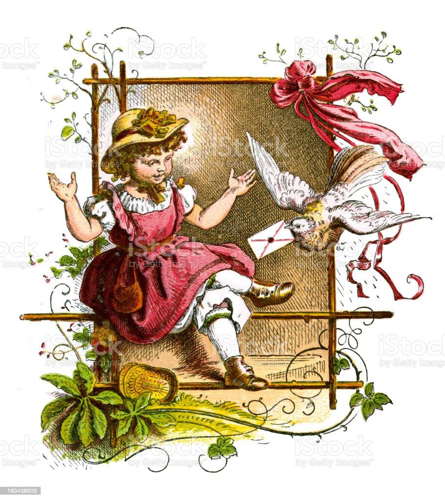 Little Victorian Girl royalty-free stock vector art
