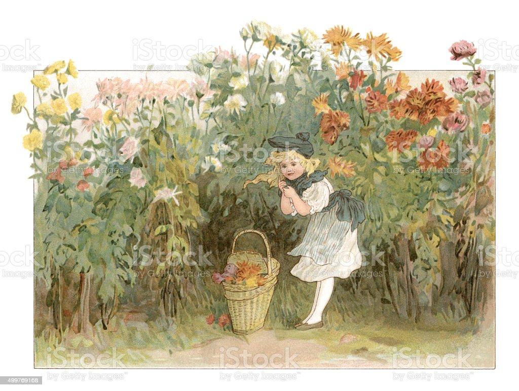 Little Victorian girl in a flower garden vector art illustration