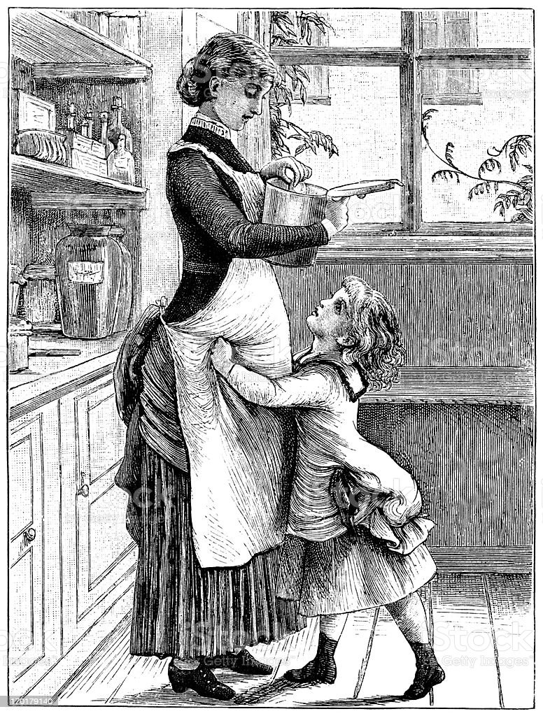 Little Victorian girl in the kitchen with her mother vector art illustration