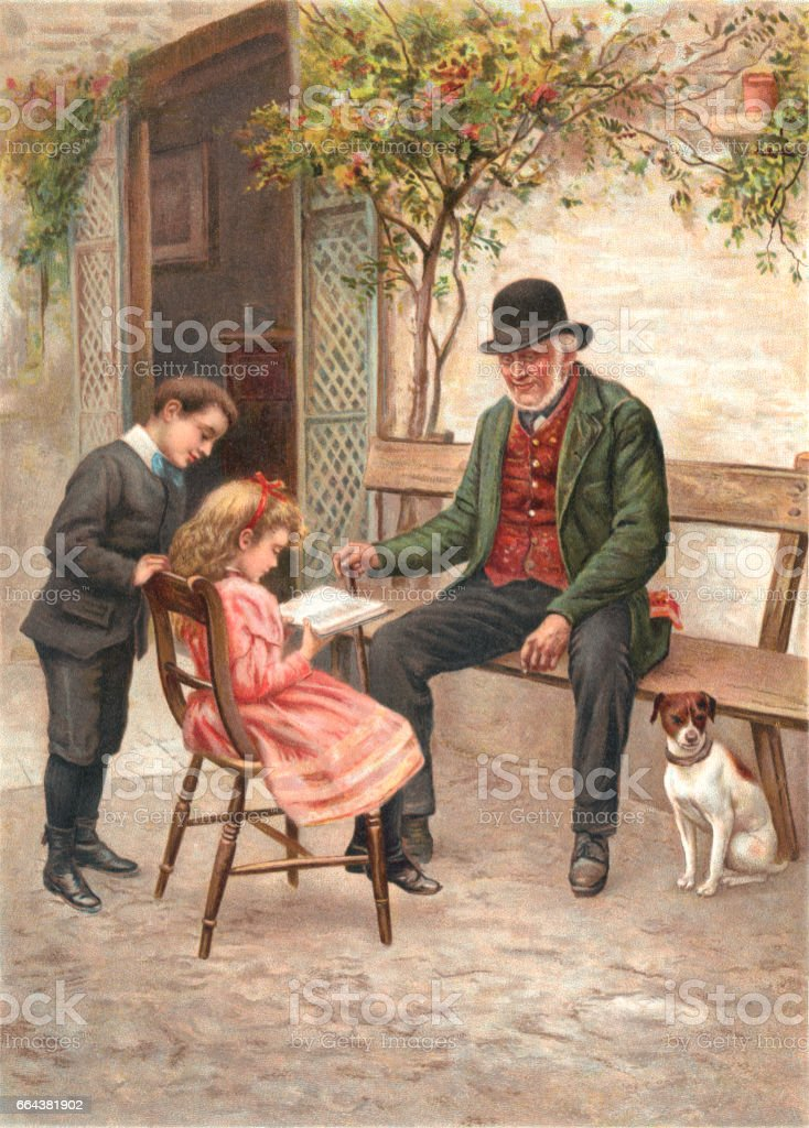 Little Victorian girl reading a book with her family and dog vector art illustration