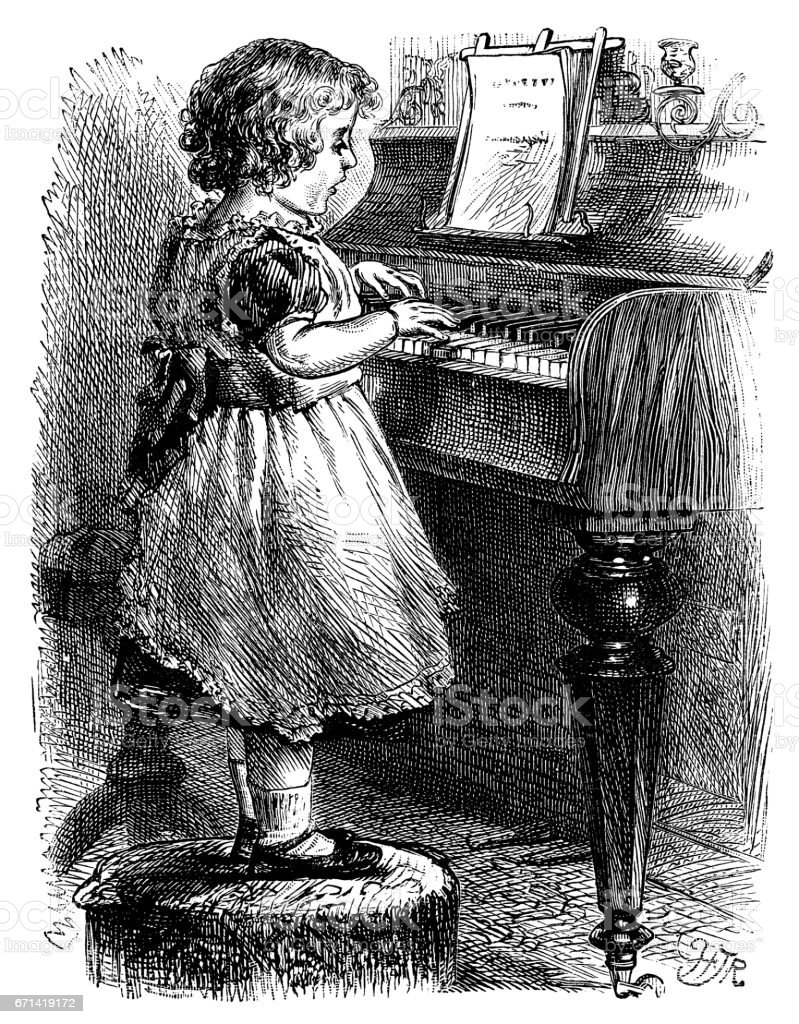 Little Victorian girl singing and playing the piano vector art illustration