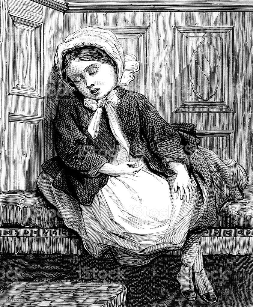 Little Victorian girl sleeping vector art illustration
