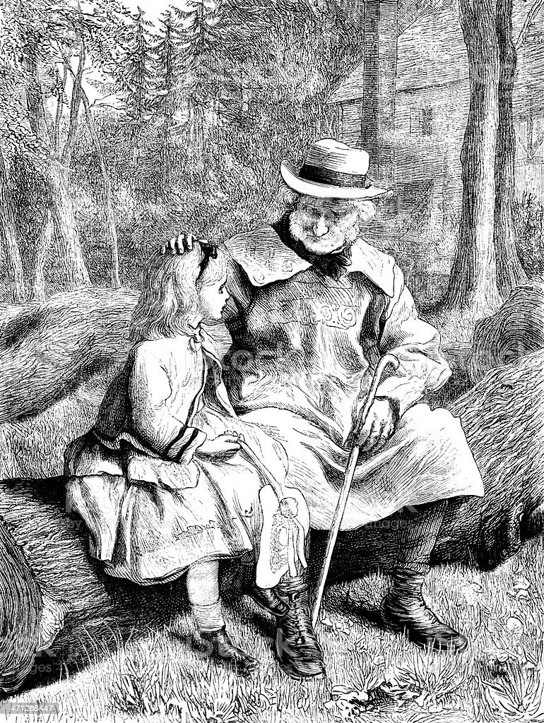 Little Victorian girl talking to an old countryman vector art illustration