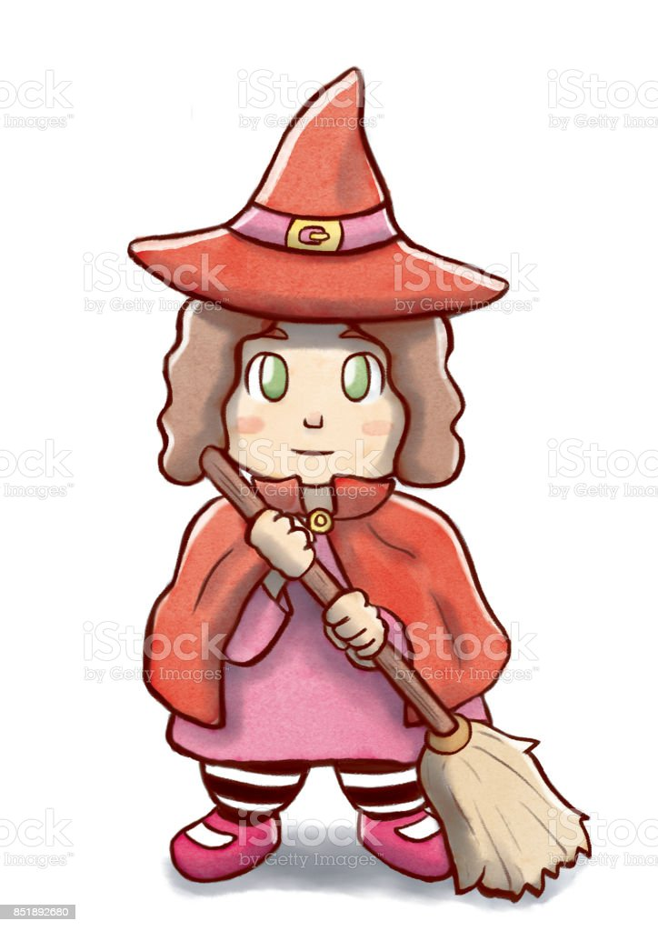 Little Witch with Red Costume and Holding a Broom vector art illustration