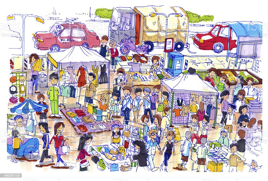 Lively and colorful flea market in Asia vector art illustration