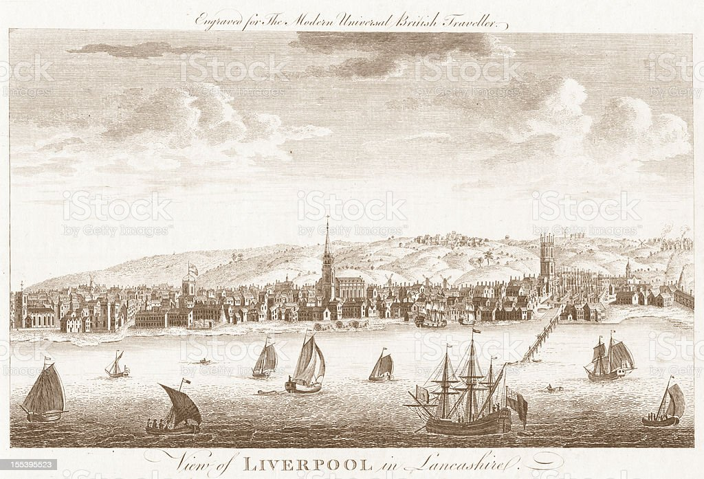 Liverpool - 18th Century Engraved Image royalty-free stock vector art