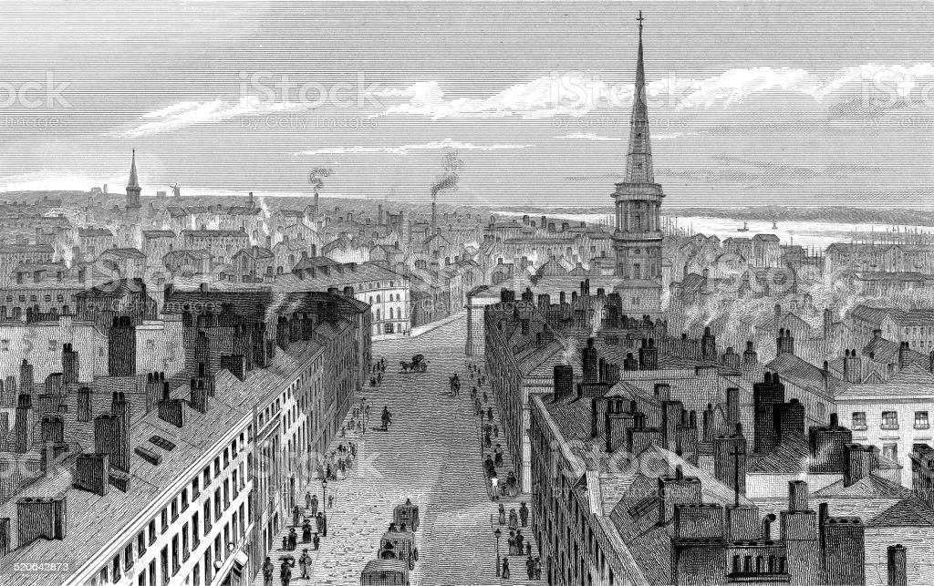 liverpool from the town-hall, looking south vector art illustration
