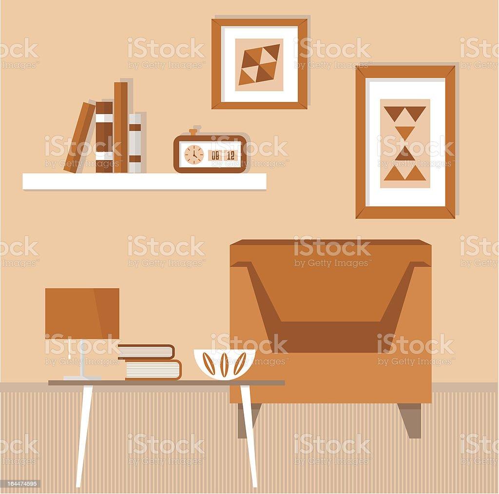 wohnzimmer mit retromöbel und elektrogeräte vektor illustration ...
