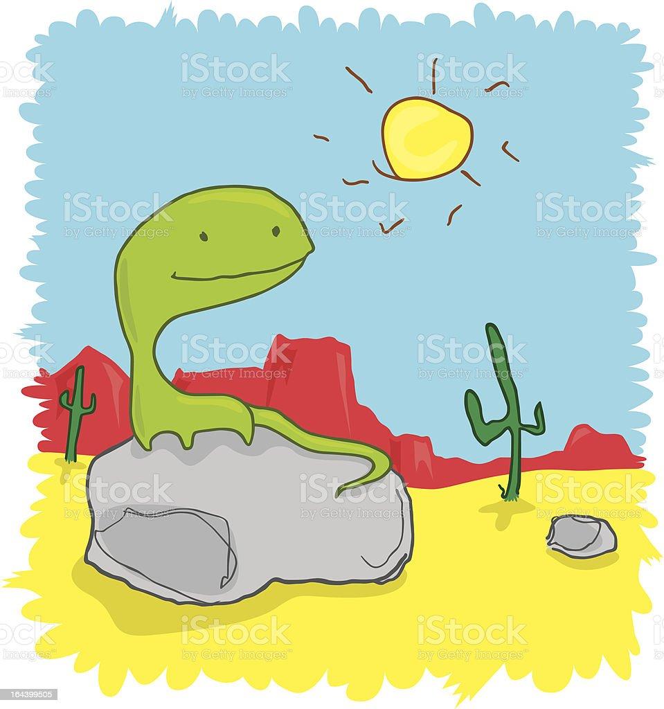 Lizard in Desert Cartoon royalty-free stock vector art
