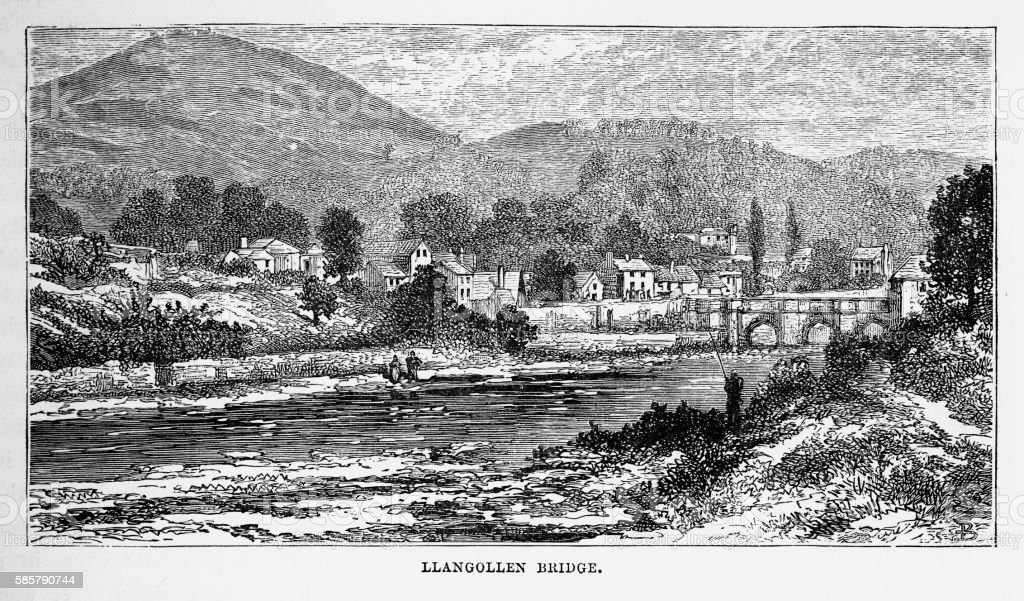 Llangollen Bridge, in Llangollen, Wales Victorian Engraving, Circa 1840 vector art illustration