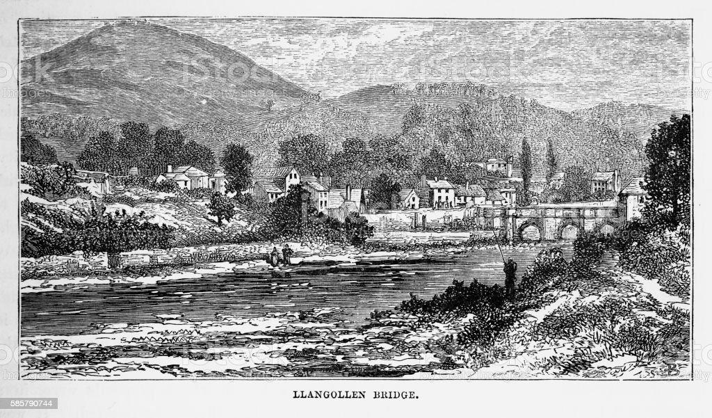 Llangollen Bridge, in Llangollen, Wales Victorian Engraving, Circa 1840 vector art illustration