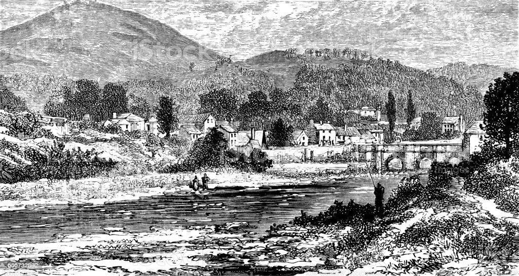 Llangollen Bridge, Wales (Victorian engraving) vector art illustration