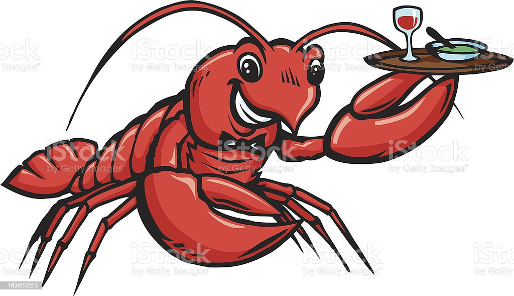 Lobster Waiter royalty-free stock vector art