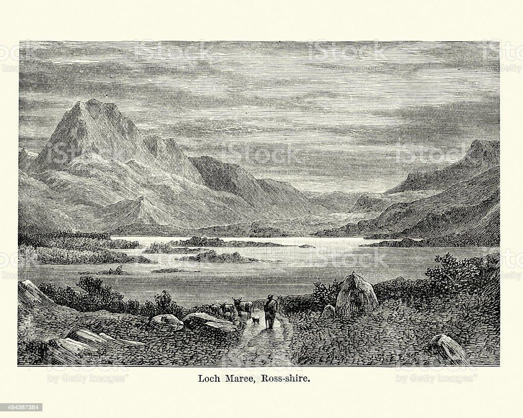 Loch Maree Northwest Highlands of Scotland vector art illustration