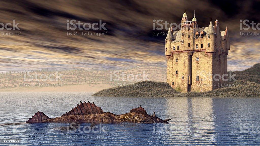 Loch Ness Monster and Scottish Castle vector art illustration