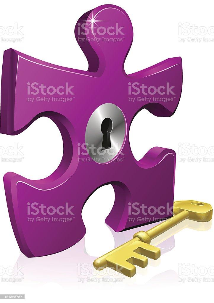 Lock and key jigsaw piece royalty-free stock vector art