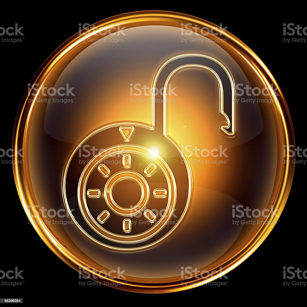 Lock open icon gold, isolated on black background royalty-free stock vector art