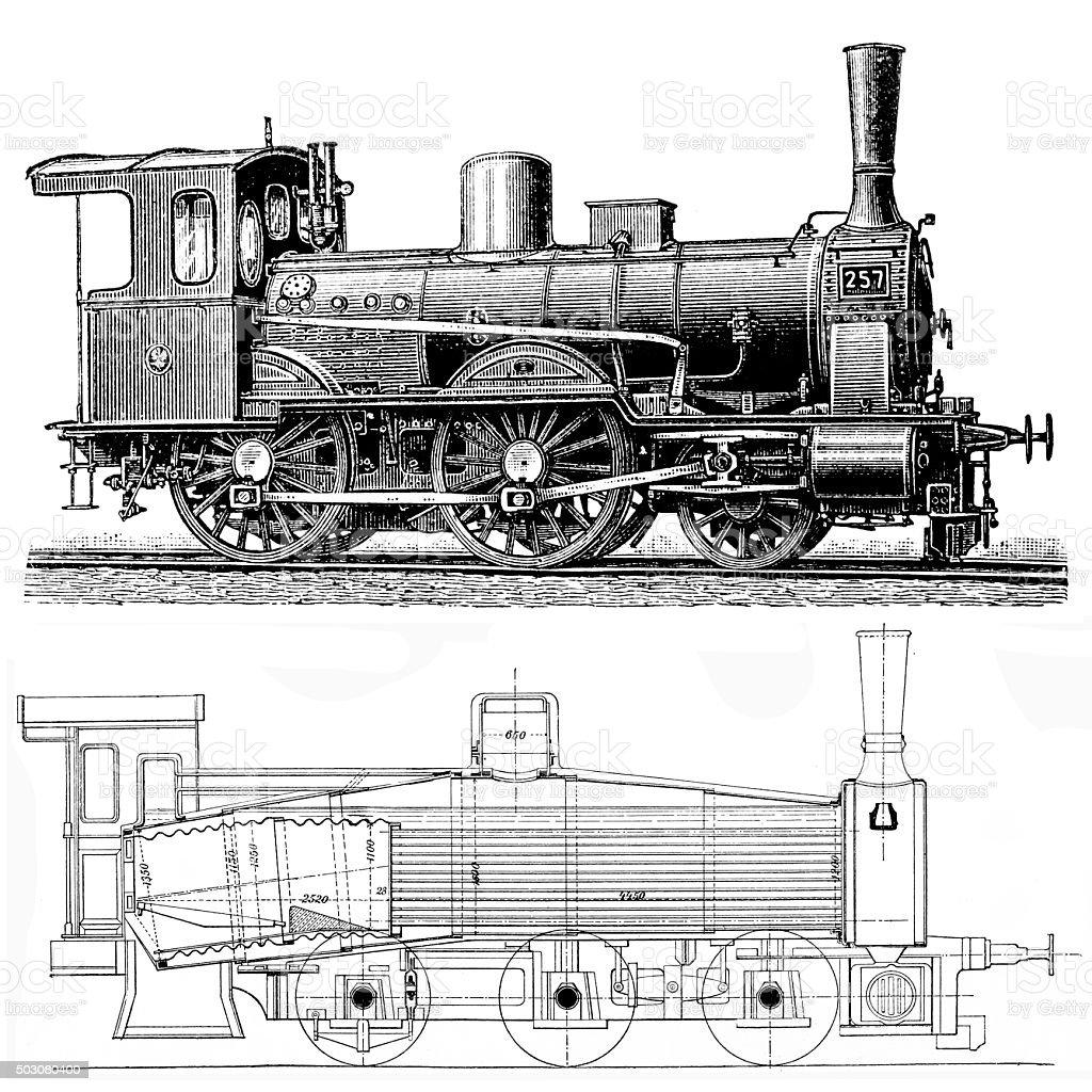 locomotive vector art illustration