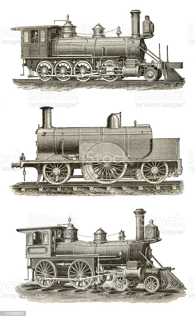Locomotive Victorian Set vector art illustration