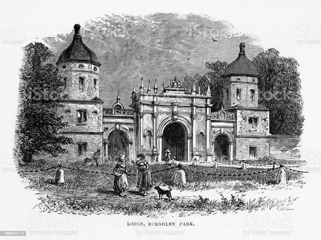 Lodge, Burghley Park, Stamford, England Victorian Engraving, Circa 1840 vector art illustration