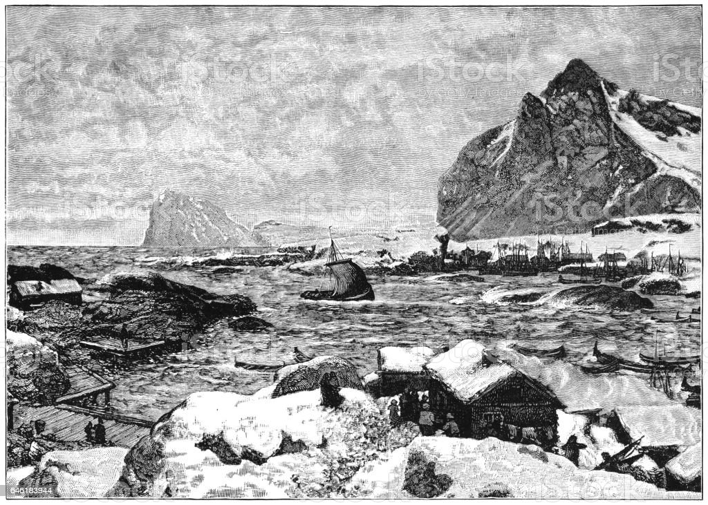 Lofoten Islands, Norway - Victorian engraving vector art illustration