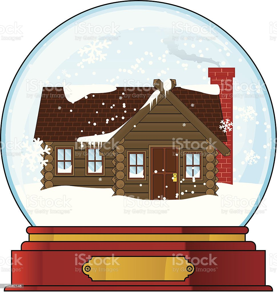 log cabin snowglobe vector art illustration
