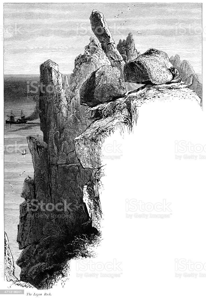 Logan Rock, Land's End, Cornwall vector art illustration