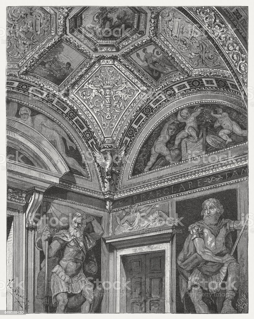 Loggia of the Heroes, painted by Perino del Vaga, Genoa vector art illustration