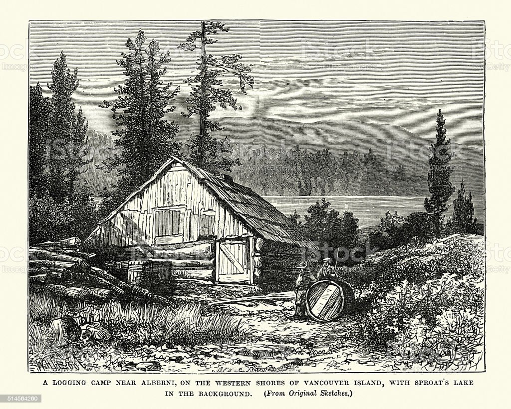 Logging camp, Vancouver Island in the 19th Century vector art illustration