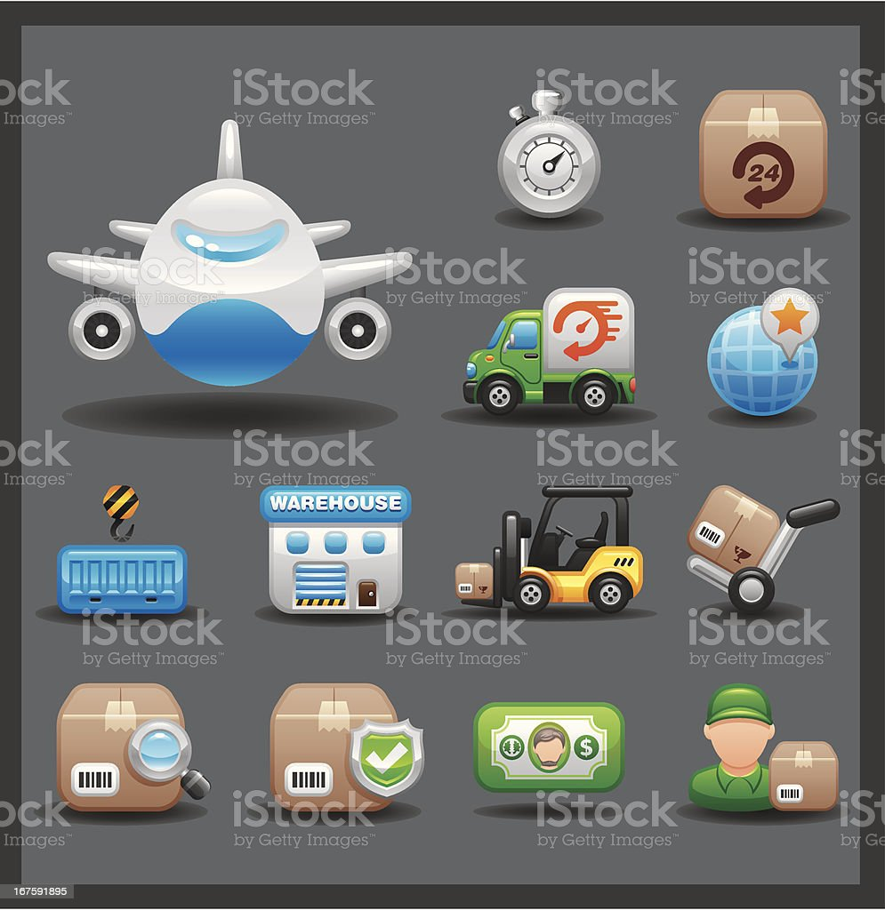 Logistics Icon Set | Shiny Series / Dark royalty-free stock vector art