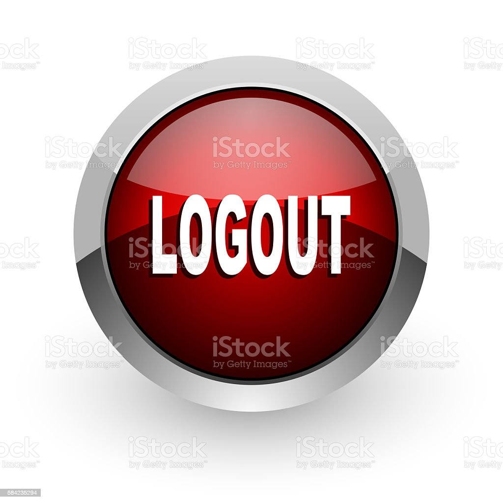 logout red circle web glossy icon stock photo