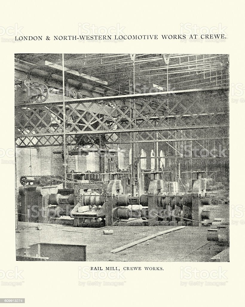 London and north western locomotive works, Crewe 1898 vector art illustration