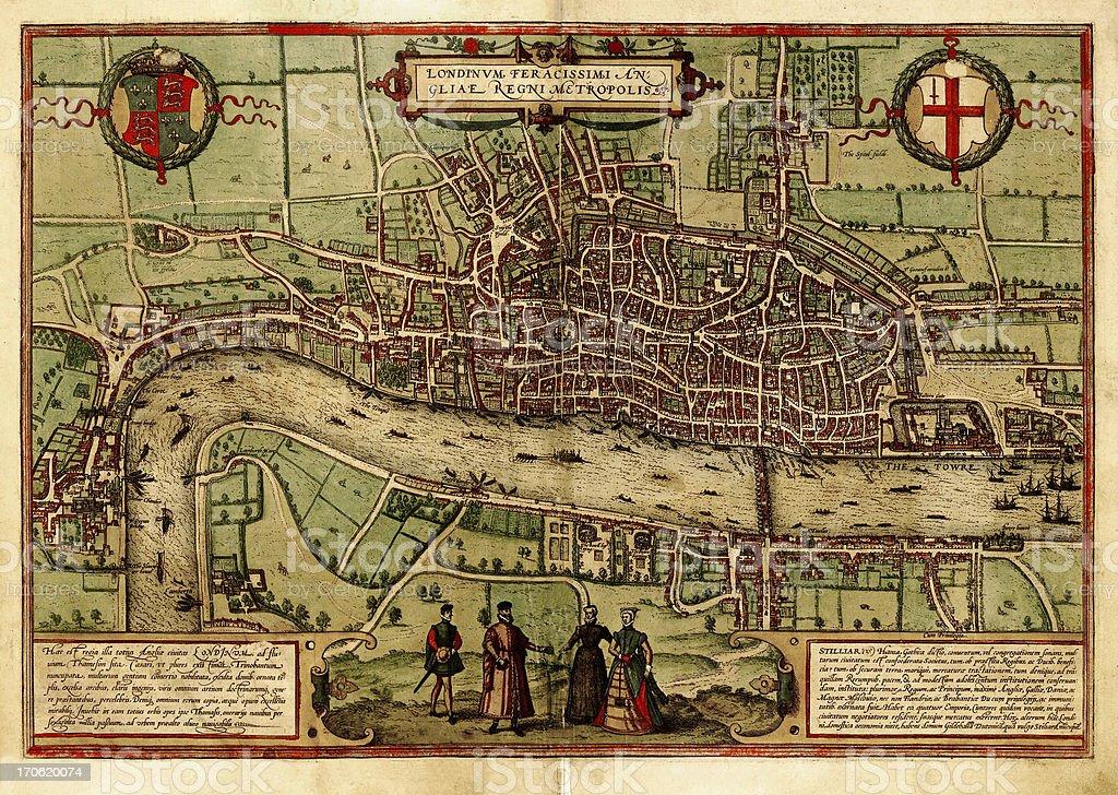 London Antique View vector art illustration