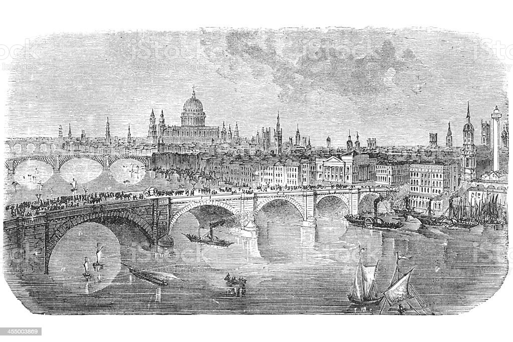 London bridge engraving from 1872 vector art illustration