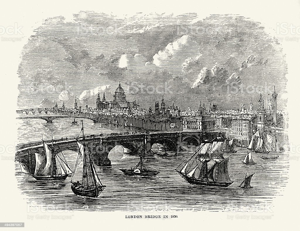 London Bridge in 1830 vector art illustration