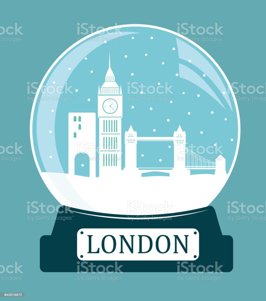 London christmas glass ball. vector art illustration