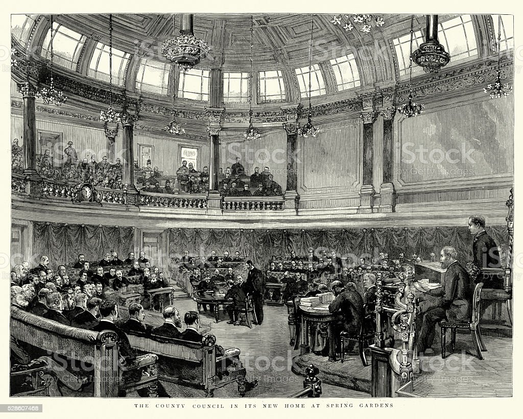 London County Council in the County Hall Spring Gardens 1890 vector art illustration
