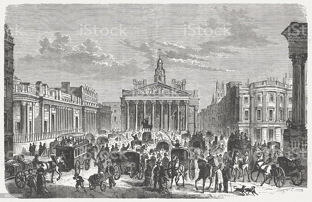 London, Royal Exchange in 19th century, wood engraving, published 1880 vector art illustration