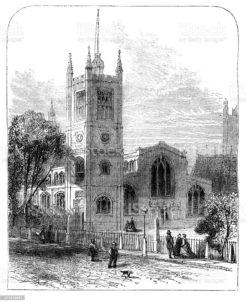 London St Margarets church Westminster old print from 1867 magazine vector art illustration